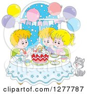 Clipart Of Happy Caucasian Children And A Cat Celebrating A December Or Christmas Birthday Royalty Free Vector Illustration