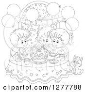 Clipart Of Happy Black And White Children And A Cat Celebrating A December Or Christmas Birthday Royalty Free Vector Illustration