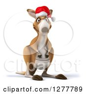 Clipart Of A 3d Christmas Kangaroo Facing Slightly Right Royalty Free Illustration