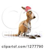 Clipart Of A 3d Christmas Kangaroo Facing Right Royalty Free Illustration