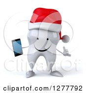 Clipart Of A 3d Happy Christmas Tooth Character Gesturing Call Me And Holding A Smart Phone Royalty Free Illustration