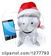 Clipart Of A 3d Happy Christmas Tooth Character Holding Up A Smart Phone Royalty Free Illustration