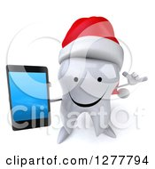 Clipart Of A 3d Happy Christmas Tooth Character Gesturing Call Me And Holding Up A Smart Phone Royalty Free Illustration