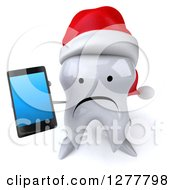 Clipart Of A 3d Unhappy Christmas Tooth Character Holding Up A Smart Phone Royalty Free Illustration