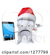 Clipart Of A 3d Unhappy Christmas Tooth Character Gesturing Call Me And Holding Up A Smart Phone Royalty Free Illustration