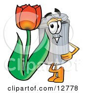 Clipart Picture Of A Garbage Can Mascot Cartoon Character With A Red Tulip Flower In The Spring