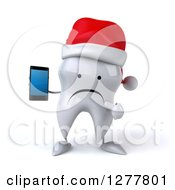 Clipart Of A 3d Unhappy Christmas Tooth Character Holding And Pointing To A Smart Phone Royalty Free Illustration