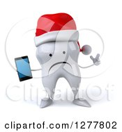 Clipart Of A 3d Unhappy Christmas Tooth Character Holding Up A Finger And A Smart Phone Royalty Free Illustration