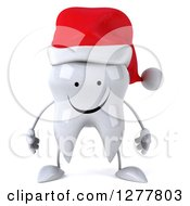 Clipart Of A 3d Happy Christmas Tooth Character Royalty Free Illustration by Julos