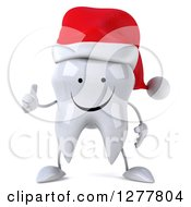 Clipart Of A 3d Happy Christmas Tooth Character Giving A Thumb Up Royalty Free Illustration by Julos