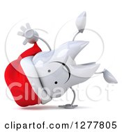 Clipart Of A 3d Happy Christmas Tooth Character Cartwheeling Royalty Free Illustration by Julos