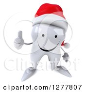 Clipart Of A 3d Happy Christmas Tooth Character Holding A Thumb Up Royalty Free Illustration by Julos