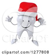 Clipart Of A 3d Happy Christmas Tooth Character Jumping Royalty Free Illustration by Julos