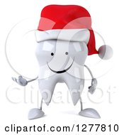 Clipart Of A 3d Happy Christmas Tooth Character Presenting Royalty Free Illustration by Julos
