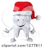 Clipart Of A 3d Happy Christmas Tooth Character Presenting 2 Royalty Free Illustration by Julos
