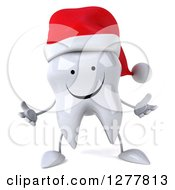 Clipart Of A 3d Happy Christmas Tooth Character Welcoming Royalty Free Illustration by Julos