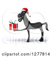 Clipart Of A 3d Black Christmas Horse Facing Left And Holding A Gift Royalty Free Illustration
