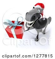 Clipart Of A 3d Black Christmas Horse Facing Slightly Left And Holding Up A Gift Royalty Free Illustration