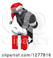 Clipart Of A 3d Black Christmas Horse Holding A Gift And Smiling Around A Sign Royalty Free Illustration