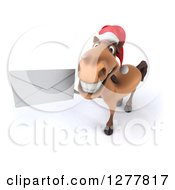 Clipart Of A 3d Brown Christmas Horse Holding Up An Envelope Royalty Free Illustration