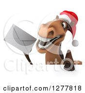 Clipart Of A 3d Brown Christmas Horse Holding Up An Envelope Over A Sign Royalty Free Illustration