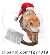 Clipart Of A 3d Brown Christmas Horse Holding An Envelope Around A Sign Royalty Free Illustration