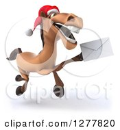 Clipart Of A 3d Brown Christmas Horse Running Slightly To The Right And Holding Up An Envelope Royalty Free Illustration