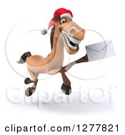 Clipart Of A 3d Brown Christmas Horse Running Slightly To The Right And Holding Up An Envelope 2 Royalty Free Illustration