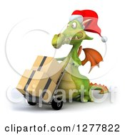 Clipart Of A 3d Green Christmas Dragon Facing Left And Moving Boxes On A Dolly Royalty Free Illustration