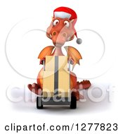 Clipart Of A 3d Red Christmas Dragon Moving Boxes On A Dolly Royalty Free Illustration