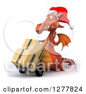 Clipart Of A 3d Red Christmas Dragon Facing Left And Moving Boxes On A Dolly Royalty Free Illustration