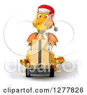 Clipart Of A 3d Yellow Christmas Dragon Moving Boxes On A Dolly Royalty Free Illustration
