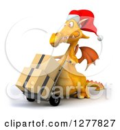 Clipart Of A 3d Yellow Christmas Dragon Facing Left And Moving Boxes On A Dolly Royalty Free Illustration