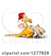 Clipart Of A 3d Yellow Christmas Dragon Facing Right And Moving Boxes On A Dolly Royalty Free Illustration