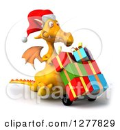 Clipart Of A 3d Yellow Christmas Dragon Facing Right And Moving Gifts On A Dolly Royalty Free Illustration