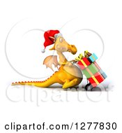 Clipart Of A 3d Yellow Christmas Dragon Facing Right And Moving Gifts On A Dolly 2 Royalty Free Illustration