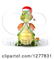 Clipart Of A 3d Green Christmas Dragon Royalty Free Illustration