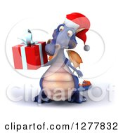 Clipart Of A 3d Purple Christmas Dragon Looking At And Holding A Gift Royalty Free Illustration