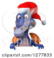 Clipart Of A 3d Purple Christmas Dragon Pointing Down Over A Sign Royalty Free Illustration