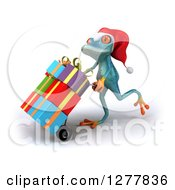 Clipart Of A 3d Turquoise Christmas Frog Moving Gifts On A Dolly Royalty Free Illustration