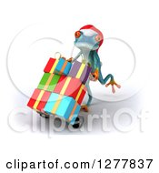 Clipart Of A 3d Turquoise Christmas Frog Moving Gifts On A Dolly 2 Royalty Free Illustration