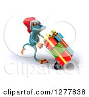 Clipart Of A 3d Turquoise Christmas Frog Moving Gifts On A Dolly 3 Royalty Free Illustration