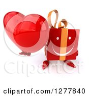 Clipart Of A 3d Red Gift Character Holding Up A Heart Royalty Free Illustration