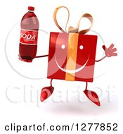 Clipart Of A 3d Happy Red Gift Character Jumping And Holding A Soda Bottle Royalty Free Illustration
