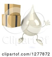 Clipart Of A 3d Milk Lotion Shampoo Or Liquid Soap Drop Character Jumping And Holding Boxes Royalty Free Illustration