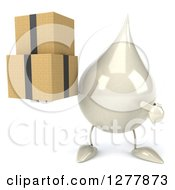 Clipart Of A 3d Milk Lotion Shampoo Or Liquid Soap Drop Character Holding And Pointing To Boxes Royalty Free Illustration