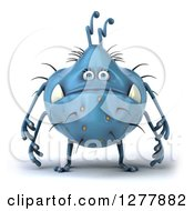Clipart Of A 3d Blue Germ Monster Facing Left Royalty Free Illustration
