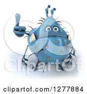 Clipart Of A 3d Blue Germ Monster Holding A Thumb Up Royalty Free Illustration