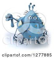 Clipart Of A 3d Blue Germ Monster Holding A Thumb Down Royalty Free Illustration