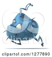 Clipart Of A 3d Blue Germ Monster Running To The Left Royalty Free Illustration